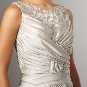 Tadashi Shoji Champagne Dress w/ Mirrored Neck